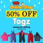 50% OFF Togz Waterproof Clothing