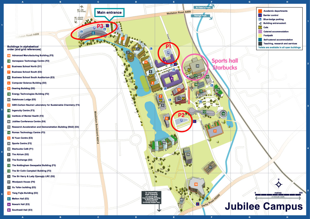university nottingham campus map Jubilee Campus Sports Hall Parking Locations Map Tumble Tots university nottingham campus map