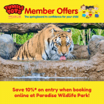 Save 10%* on entry when booking online at Paradise Wildlife Park!
